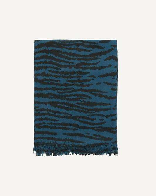 Étole tigre 180 x 85 cm - Petrole