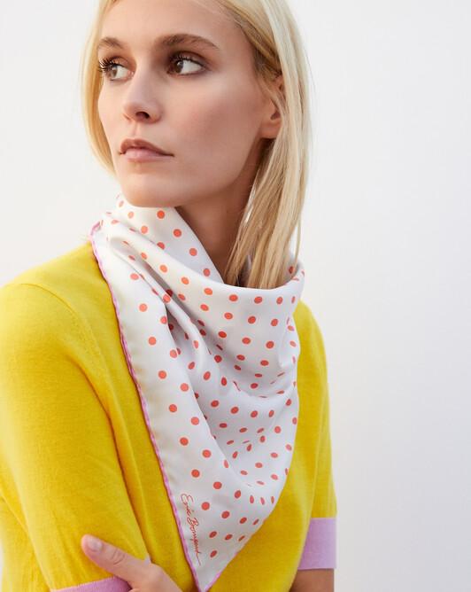 Polka dot printed silk square scarf 65cm x 65cm - Autumn white