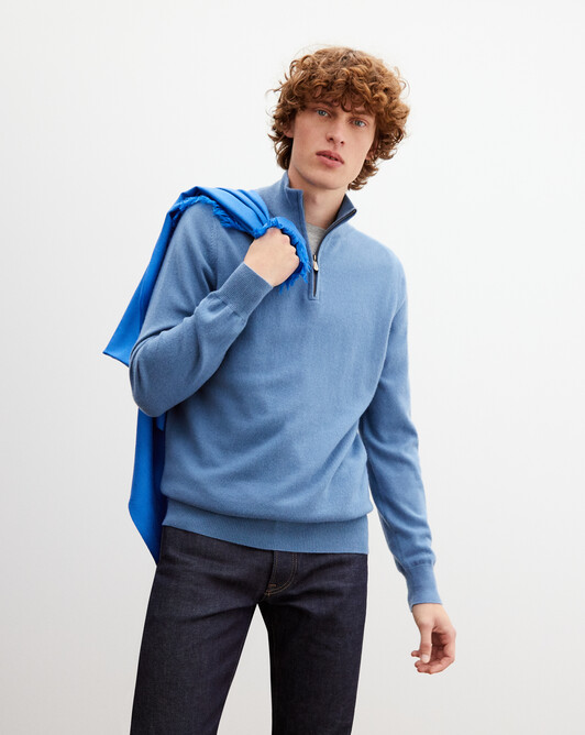 2-ply half-zip pullover - Egyptian blue