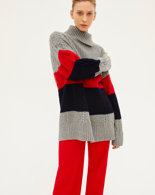Rib placed stripes cable stitch roll-neck sweater - Flannel grey