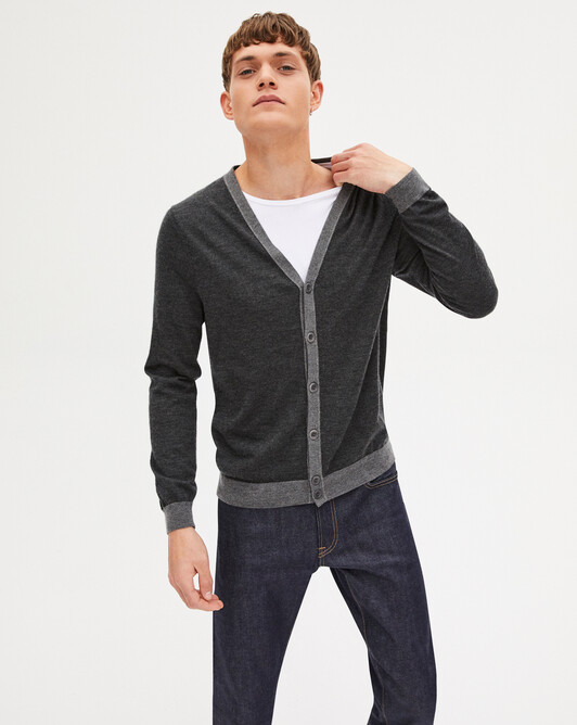 Extrafine V-neck cardigan - Charcoal grey/college grey