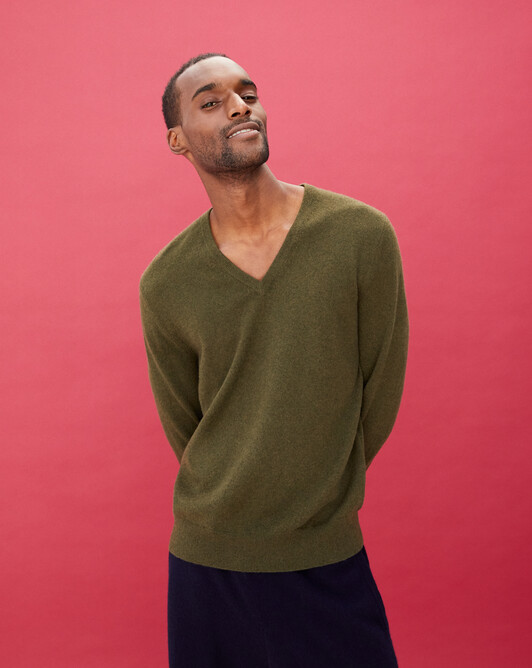 Classic V-neck pullover - Kale