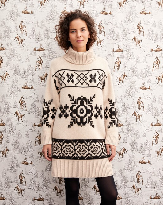 Norwegian snowflake jacquard roll-neck dress - Nougat/ebony