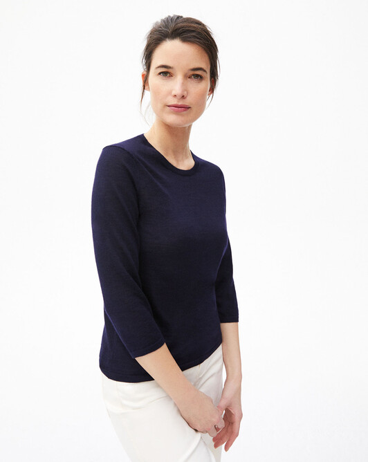 3/4 length-sleeved extrafine crew-neck sweater - Navy blue