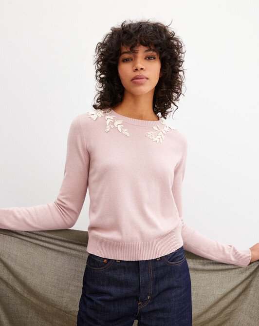 Embroidered guipure crew neck pullover - Dragee pink