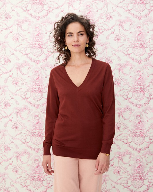 Extrafine oversized V-neck pullover - Chestnut