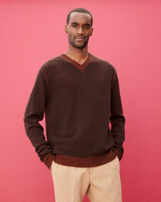 Two-tone plaited V-neck pullover - Ebony/everbay