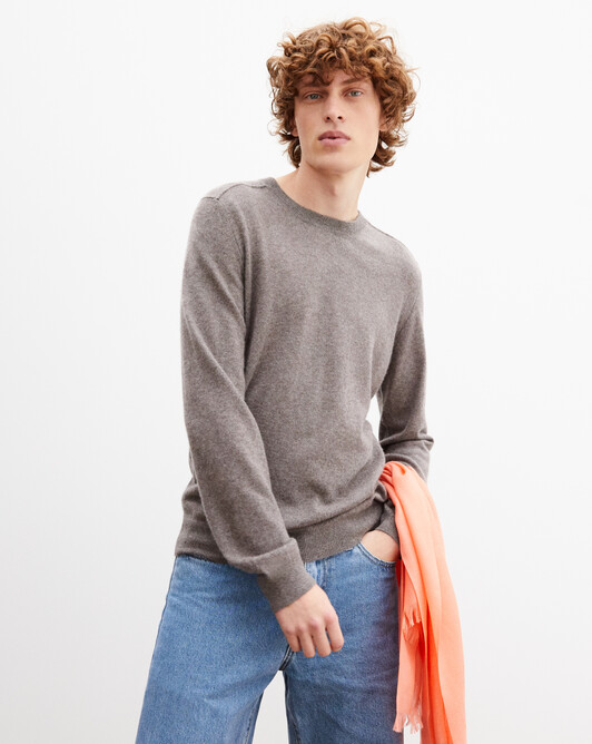 Cashmere/linen crew neck pullover - Bark