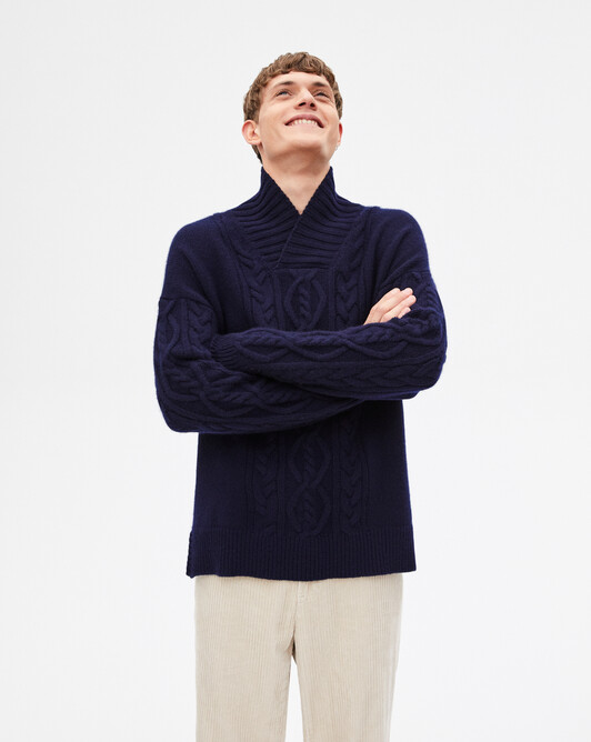 8-ply aran knitted crossover collar - Navy blue