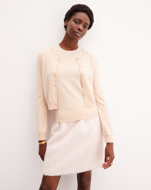 Gold-button cardigan - Sepia beige
