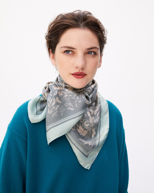 Butterfly print silk square scarf 90 cm x 90 cm - Flannel grey