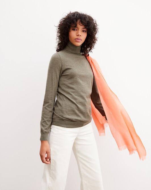 Contemporary extrafine roll-neck pullover - Khaki