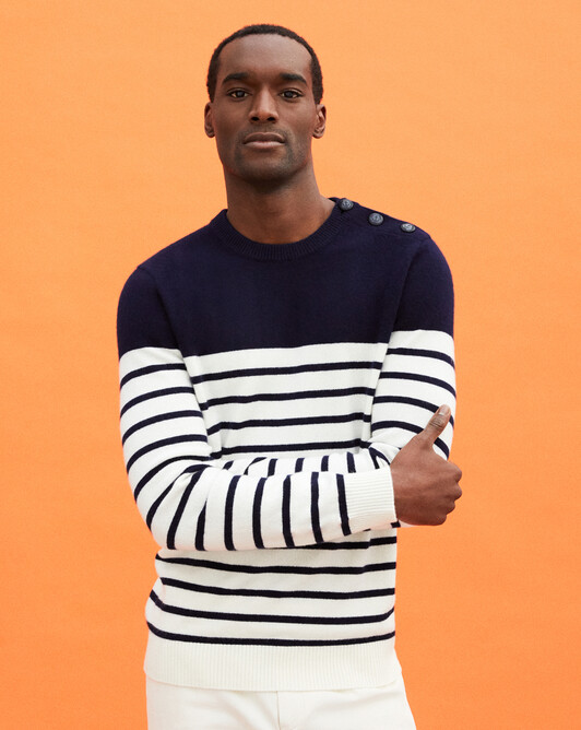 Button-shoulder striped crew-neck sweater - Navy blue/autumn white