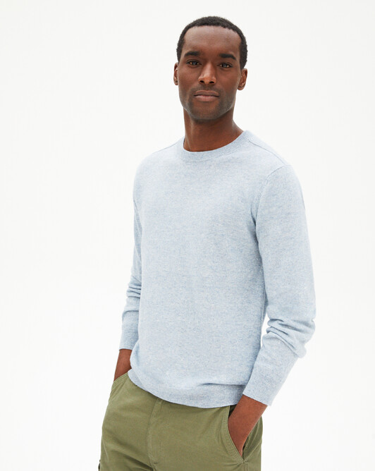 Cashmere/linen crew-neck sweater - Denim blue
