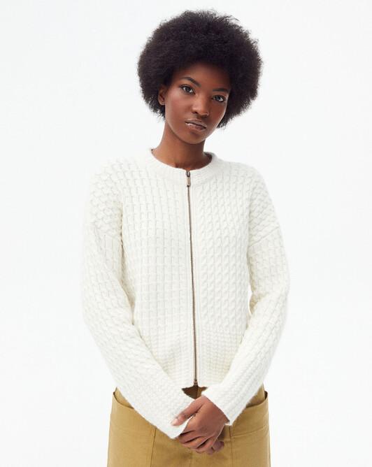Twin cable stitch zipped jacket - Autumn white