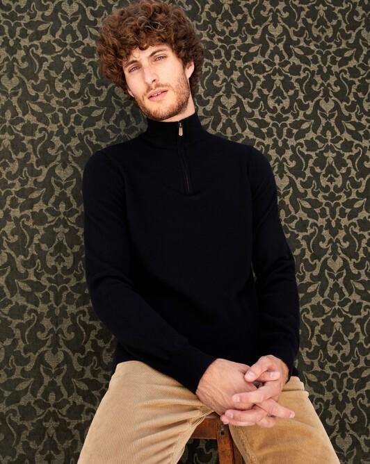 2-ply half-zip pullover - Black