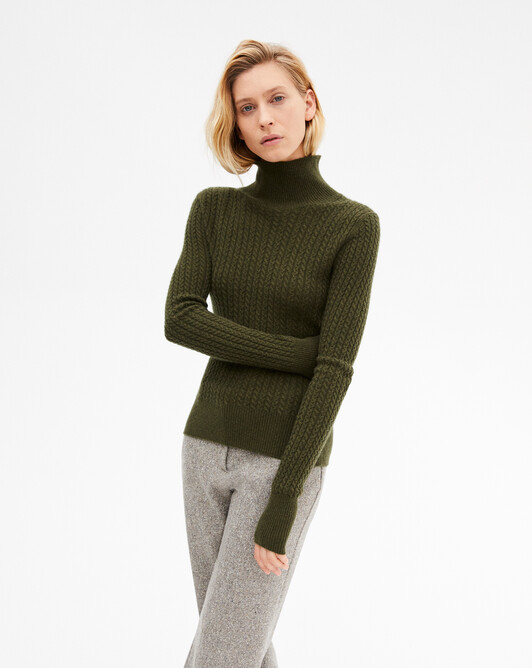 Mini cable stitch roll-neck sweater - Kale