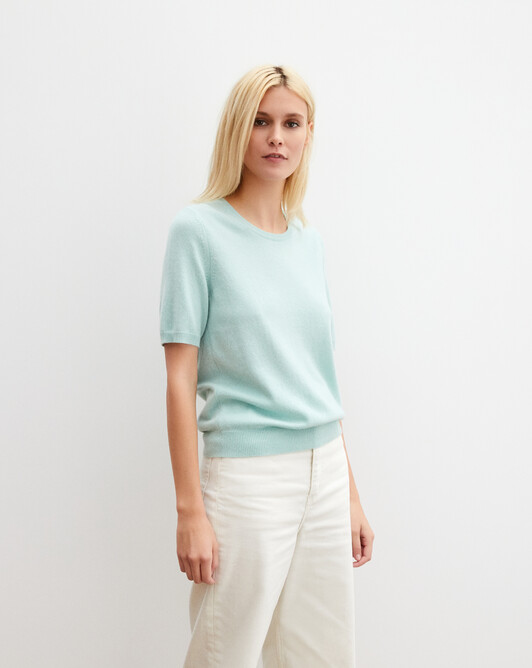 Classic short-sleeved crew neck pullover - Celadon
