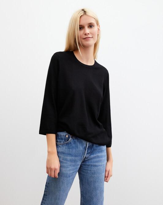 3/4 length-sleeved extrafine crew-neck pullover - Black