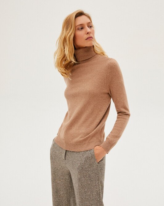 Classic roll-neck sweater - Camel