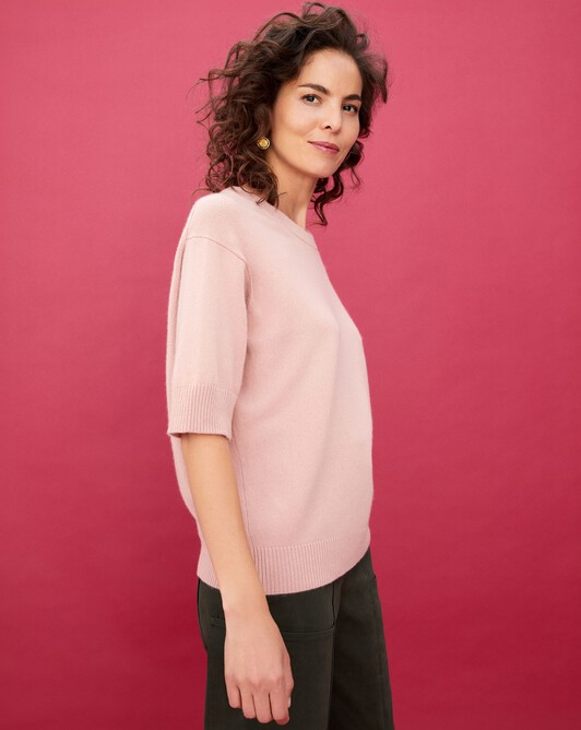 Contemporary short-sleeved maxi crew neck pullover - Blush