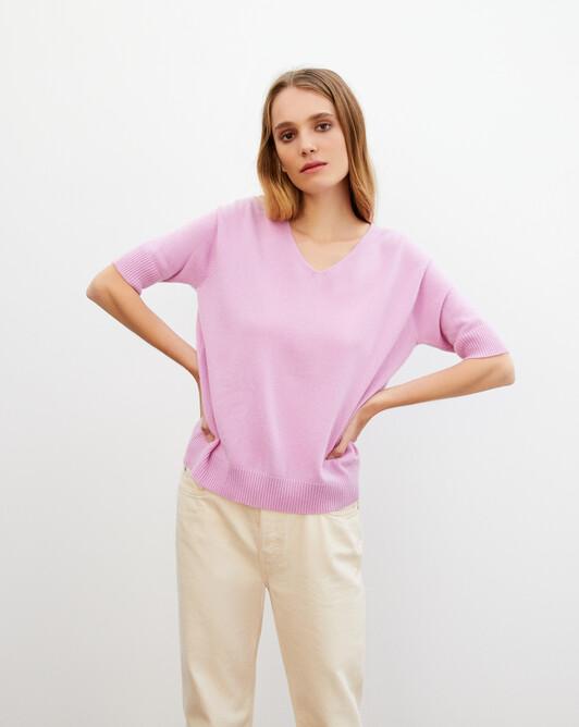 Contemporary short-sleeved maxi V-neck - Confetti