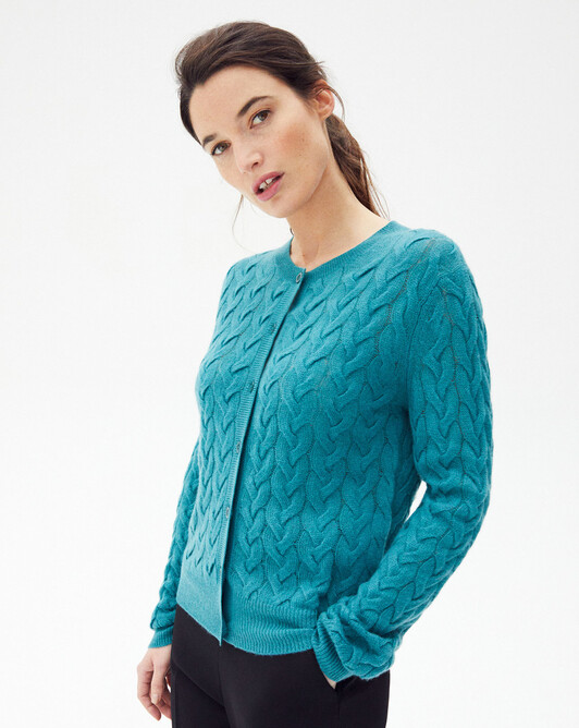Airy cable stitch cardigan - Vetiver
