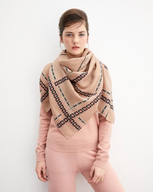 Edward fair isle print square scarf 120 cm x 120 cm - Camel
