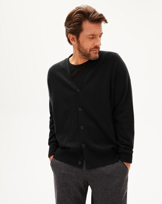 Gilet cachemire laine Indispensable - Noir