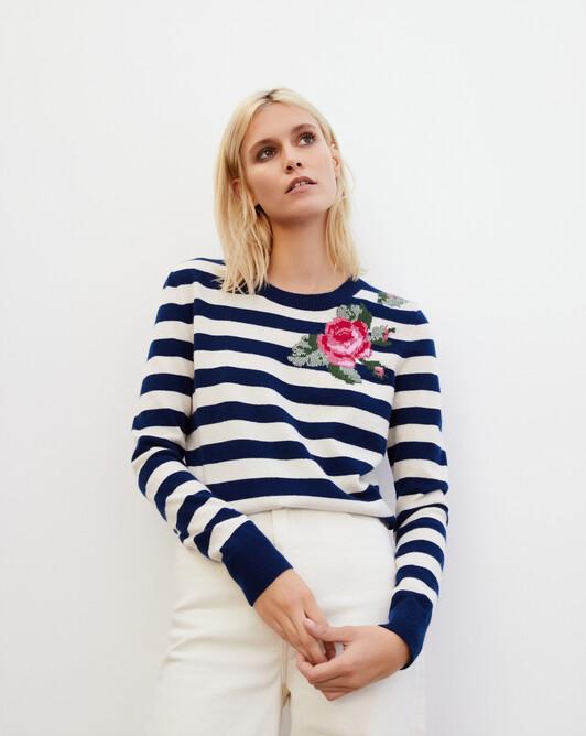 Striped rose jacquard crew neck pullover - Admiral blue/milk