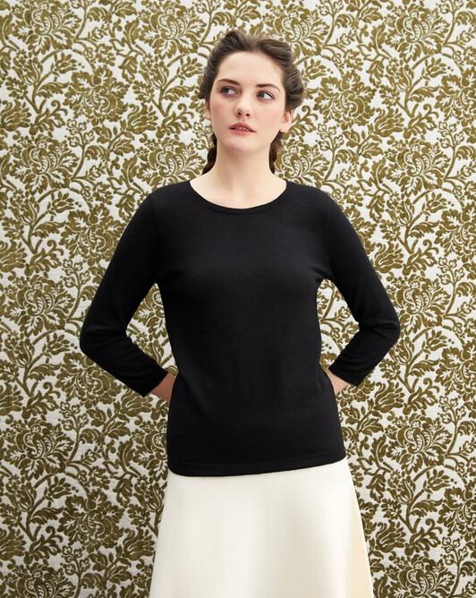 3/4 length sleeved extrafine crew neck pullover - Black