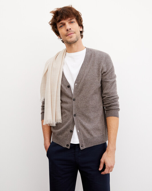 Cashmere/linen cardigan - Bark