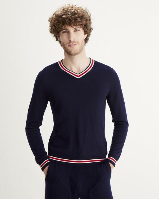 V-neck pullover with stripes - Navy blue