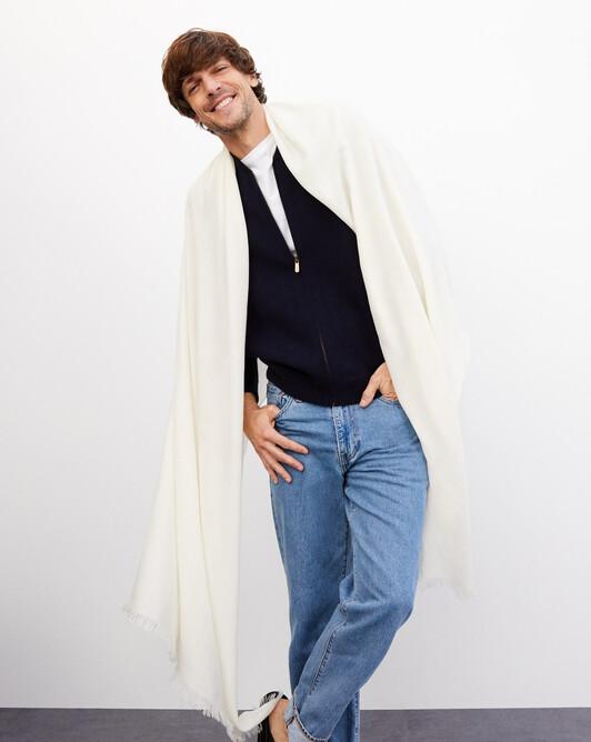 Giant cashmere voile stole 250 cm x 120 cm - Autumn white
