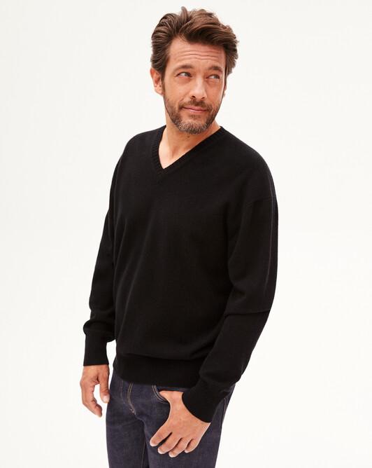 Pull V cachemire laine Indispensable - Noir