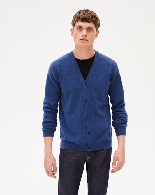 Fitted cardigan with offset shoulders - Indigo