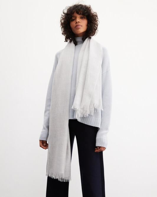 Cashmere voile stole 180 cm x 85 cm - Frost grey
