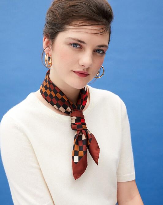 Multicoloured diamond print silk square scarf 65 cm x 65 cm - Camel
