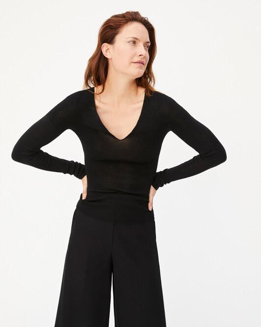 Metallic extrafine seamless V-neck sweater - Black