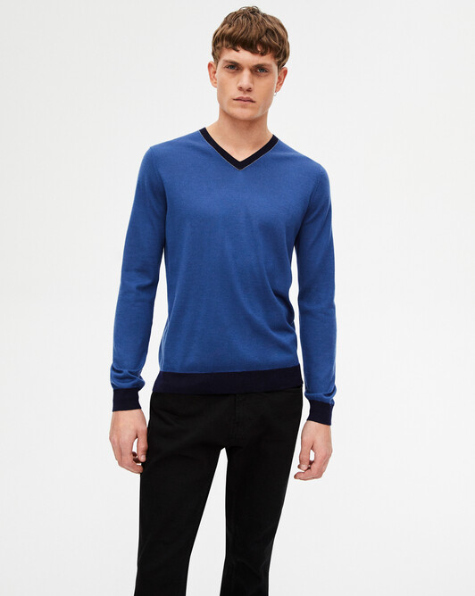 Extrafine tricolour V-neck sweater - Indigo blue/navy blue