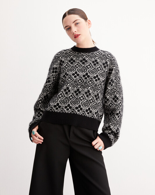 Two-tone nomad jacquard crew neck pullover - Black/autumn white