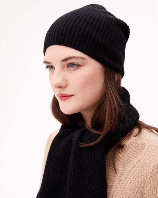 Half cardigan rib hat - Black