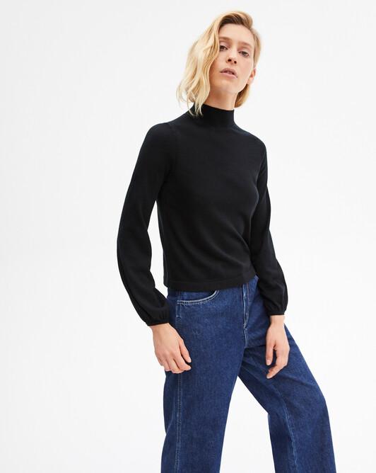 Extrafine gathered blouse sleeves turtleneck sweater - Black