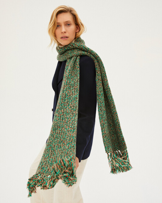 12 ply marl fringed scarf - Peppermint marled