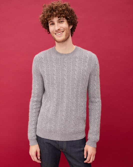 Ribbed cable-stitch crew neck pullover - Flannel grey