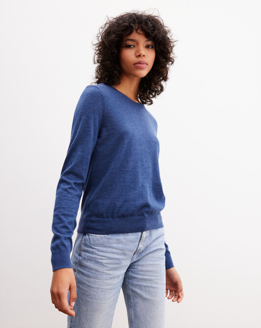 Contemporary extrafine crew neck pullover - Indigo