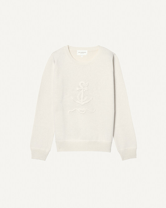 Hand-embroidered anchor crew neck pullover - Autumn white
