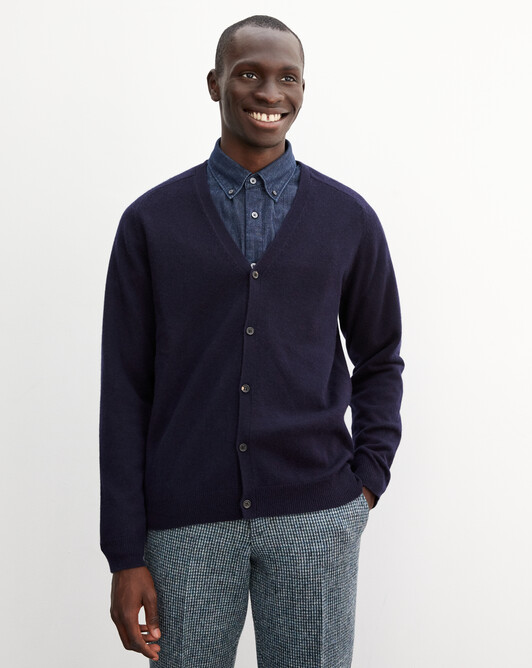 Fitted cardigan with offset shoulders - Navy blue