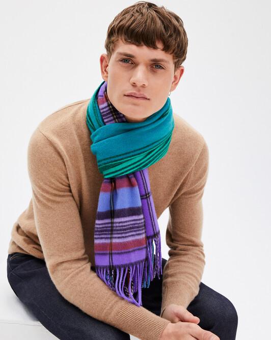 Tartan twined scarf 180 x 40 cm - Peppermint/crocus
