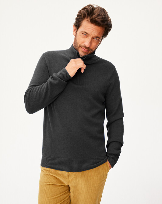 4-ply half-zip pullover - Charcoal grey